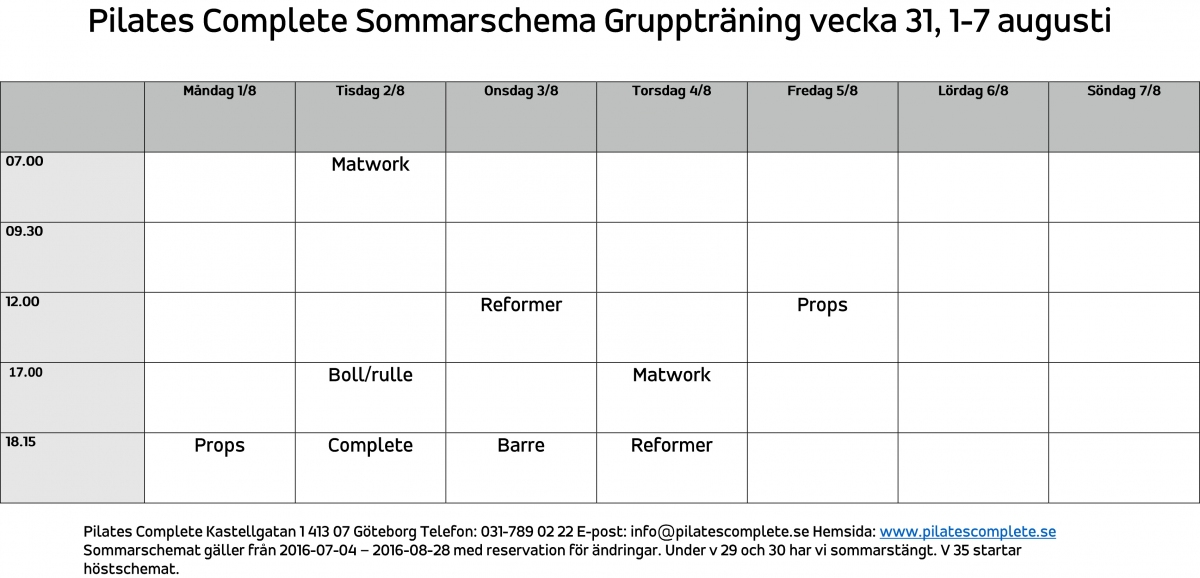 Sommarschema Gruppträning vecka 31