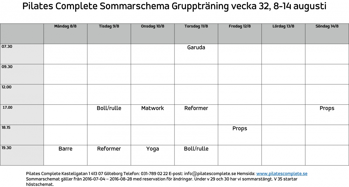Sommarschema Gruppträning vecka 32