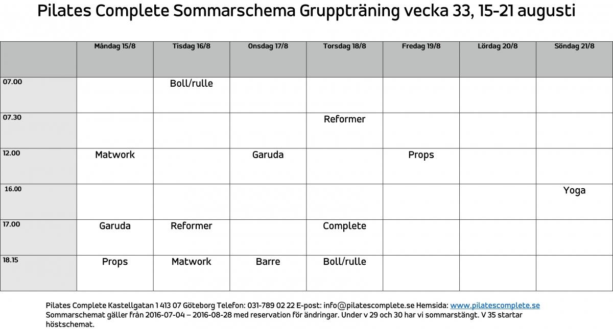 Sommarschema Gruppträning vecka 33