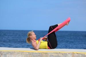 pilates complete flexband double leg stretch prep